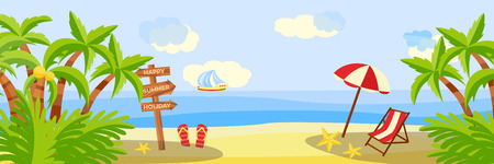 Summer beach vacation horizontal banner with lounge and umbrella on sand with palm trees near sea - sunny scene for resort holidays concept. Cartoon vector illustration of sea skyline.