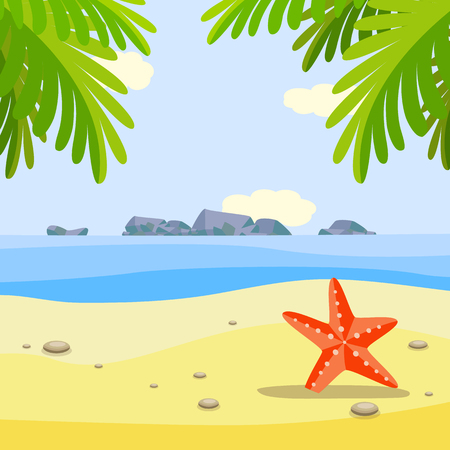 Summer sunny beach banner with red starfish on sand under palm trees. Sea landscape in cartoon style for resort vacation and traveling concept, vector illustration.