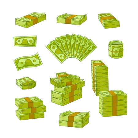 Vector flat cash money piles, stack set. Bank hundred dollar banknotes. Business finance savings profit success, jackpot, banking loan credit symbol. Isolated illustration, white background