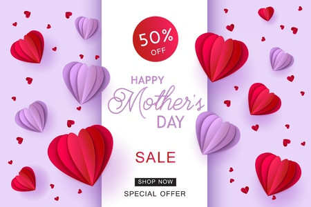 Violet and red folded origami paper heart shapes and sign on pastel background. Isolated holiday promotion vector illustration for Mothers Day special offer banner in trendy paper art craft style.