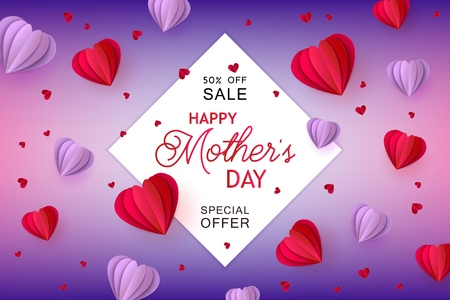 Violet and red folded paper heart shapes and white sticker on gradient background - isolated holiday promotion vector illustration for Mothers Day special offer banner in trendy paper art.