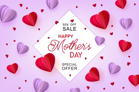 Violet and red folded paper heart shapes and sign on pastel background - isolated holiday promotion vector illustration for Mothers Day special offer banner in trendy paper art.
