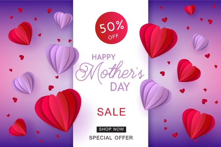Red and violet hearts in paper art on gradient background for Mothers Day sale banner. Vector illustration of abstract hearts made from paper or cardboard for holiday advertising card.