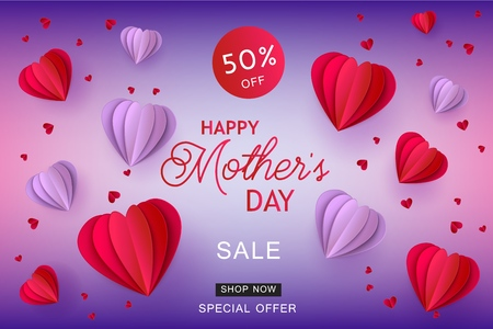 Origami paper hearts in red and violet colors on gradient background for Moithers Day sale banner. Holiday promotion vector illustration with folded paper or cardboard hearts.