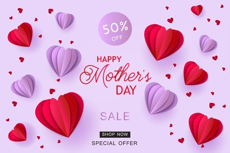Violet and red folded paper heart shapes and sign on pastel background. Isolated holiday promotion vector illustration for Mothers Day special offer banner in trendy paper art. Ilustração