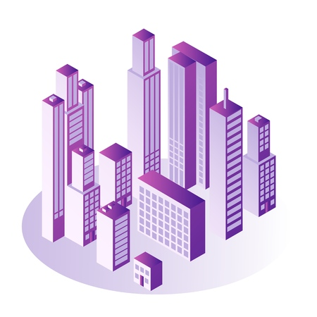 City isometric concept with multi storey office or apartment buildings in gradient violet color