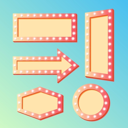 Shining retro light banners set frames with luminous lights on contour and copy space