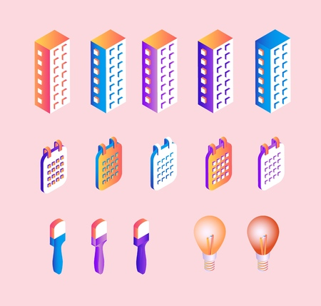 Isometric gradient business elements set of multi storey office buildings, flip-flop calendars and abstract concepts of idea and creation