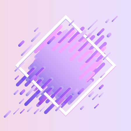 Glitched geometric colorful banner with distortion effect in trendy ultra violet color with rhombus frame and copy space