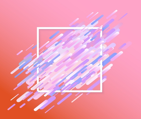 Glitched background with abstract colorful shapes and stripes and white square frame
