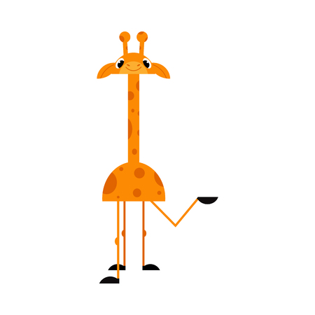 Cute giraffe cartoon character stands smiling and pointing with hand to something isolated on white background - funny comic yellow African animal with spots. Иллюстрация