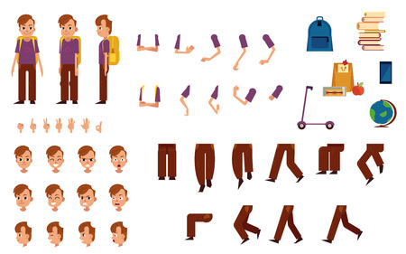 Student boy with backpack creation kit with school supplies and various body parts, face emotions and hand gestures - isolated flat vector illustration of male kid caucasian character.