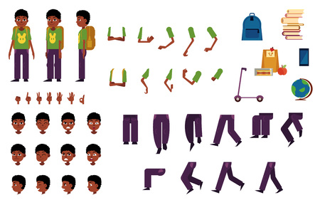 African male student kid animation set. Funny young man with different facial emotions, legs and arms positions and gestures, school symbols. People construction and creation collection. Vector flat