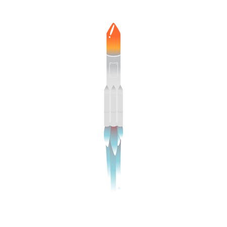 Cartoon taking off rocket icon. Silver colored spaceship, space transportation