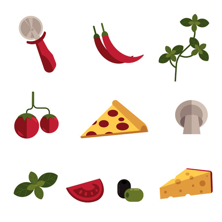 Flat pizza ingredients icon set. Pepperoni pizza slice, cheese wedge with holes, potato olive chili pepper vegetables, condiments - basil and parsley herbs, mushroom circle knife. Vector illustration
