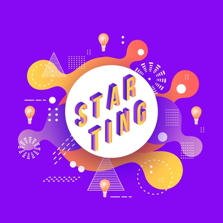 Trendy starting poster, banner background template with orange red color abstract geometric shapes- circles and triangles and light bulbs icon on purple. Vector modern advertising illustration