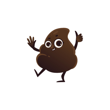 Cheerfu brown poop character with legs and arms waving hands with happy facial expression. Funny smilling crap or shit excrement. Vector cartoon isolated illustration.