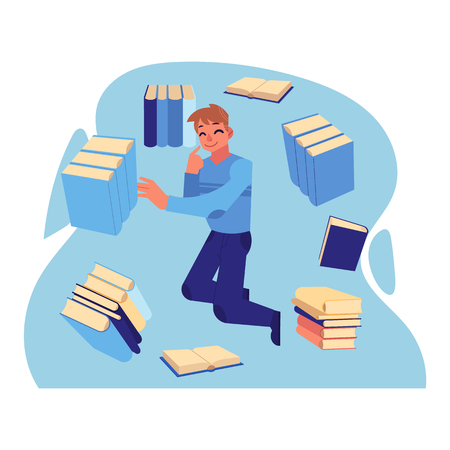 Young cheerful man in casual clothing flying in blue cloud with a lot of books, papers and documents. Accessibility of information concept. Male happy man reading and studying. Vector illustration Illustration