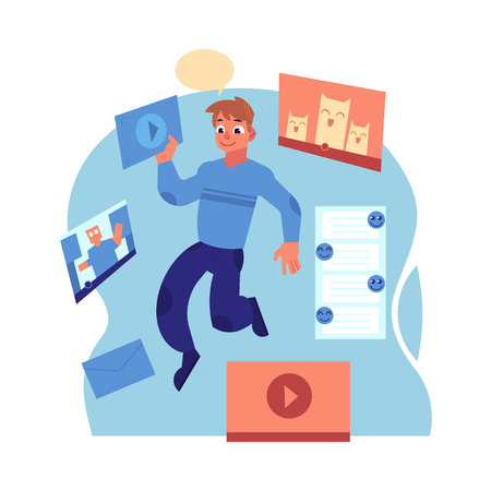 Young cheerful man in casual clothing flying in blue cloud with media windows, files laptops and pictures. Accessibility of information concept. Male happy man reading and studying Vector illustration