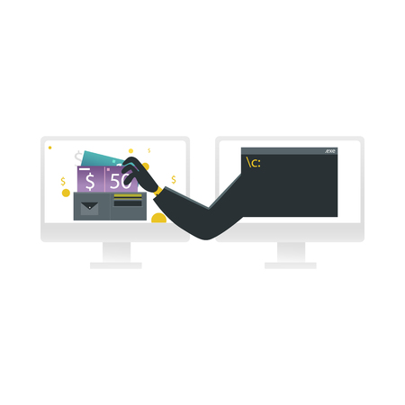 Hacker stealing money concept - hand in black clothes from one computer monitor thieves currency from another screen isolated on white background. Cartoon vector illustration of internet crime. 向量圖像