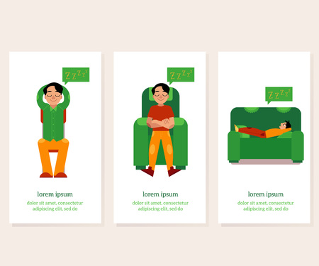 Young man relaxing banners set with male character relaxes - boy regain strength sitting and lying in comfortable furniture, flat cartoon vector illustration with copy space. Illustration