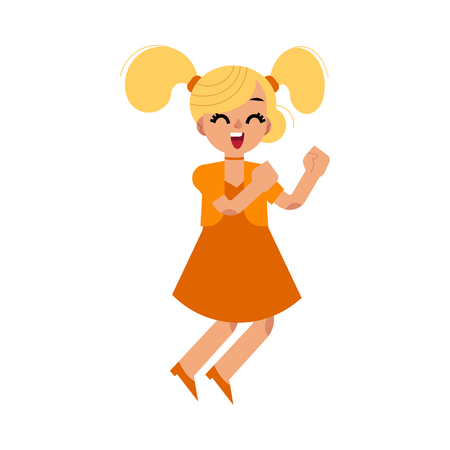 Cute blonde girl in orange dress dancing. Female teenage cheerful character in casual clothing having fun dancing, jumping and smiling cheerfully. Vector flat isolated illustration Illustration