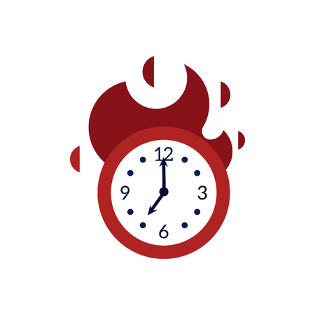 Clock with red fire showing time running out - deadline and time management concept. Burning wall watch with flames isolated on white background in flat vector illustration.