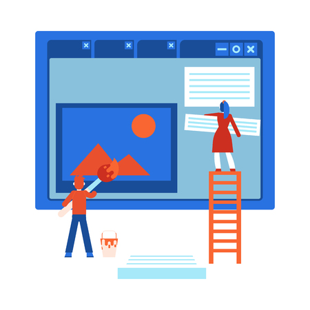 Process of web site design development - isolated flat cartoon vector illustration of it specialists team creating webpage on computer screen and filling it with content and information.