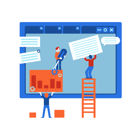 Web site design development process - it specialists team creating webpage on computer screen and filling it with content and information, flat cartoon vector illustration.