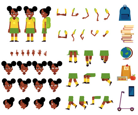 African female student kid animation set. Cute young girl with different facial emotions, legs and arms positions and gestures, school symbols. People construction and creation collection. Vector flat