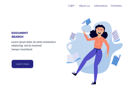 Woman in information surroundings - smiling flat cartoon female character flying in environment with information sources on web page template. Isolated vector illustration. Ilustração