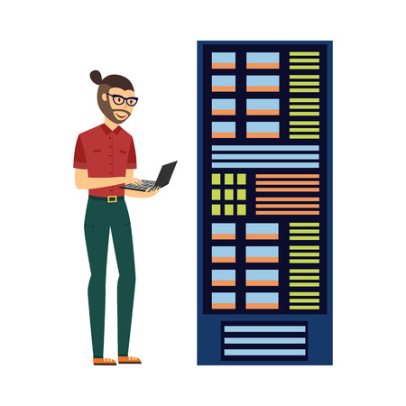 Modern it specialist man with laptop in computer server rack at data center, database icon. Hardware information storage, internet cloud computing symbol. Vector flat isolated illustration.
