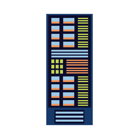 Modern computer server rack at data center, database icon. Hardware information storage, internet cloud computing symbol. Vector flat isolated illustration.