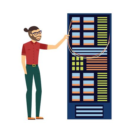 Homme spécialiste de l'informatique moderne dans des verres en rack de serveur informatique au centre de données, icône de la base de données. Stockage d'informations matérielles, symbole de cloud computing Internet. Illustration vectorielle plane isolée.