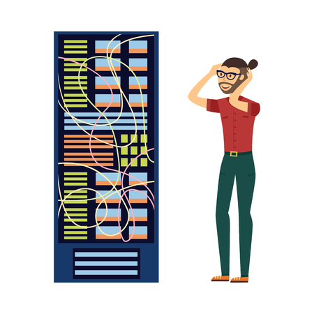 Modern it specialist man in glasses in computer server rack at data center, database icon. Hardware information storage, internet cloud computing symbol. Vector flat isolated illustration.