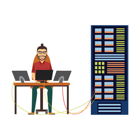 Modern IT specialist man in glasses installing software in computer server rack at data center, database icon. Hardware information storage, internet cloud computing symbol. Vector flat illustration.