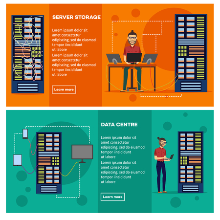 Server room banner set with data center and server storage with young male it engineer correctly adjusting computer equipment. Flat cartoon vector illustration for telecommunication technology concept Vectores