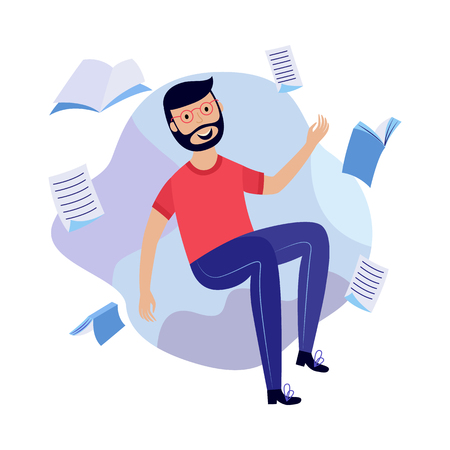 Boy in information surroundings - smiling young male character flying in environment of books and documents. Isolated flat cartoon vector illustration of search and analysis concept.