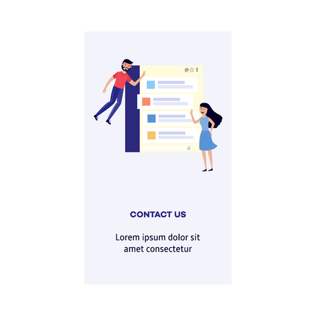 Man and woman with contact us form - smiling flat cartoon male and female characters flying around message box on digital screen isolated on white background. Vector illustration of vertical banner. Illustration