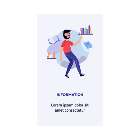 Boy in information environment - smiling young guy flying in weightlessness surrounded by books and documents. Isolated flat cartoon vector illustration of search data concept for vertical banner.