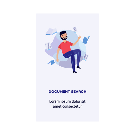 Young cheerful man in casual clothing flying in blue cloud with a lot of book and paper. Accessibility of information, document search concept. Male happy man reading and studying. Vector illustration Ilustração