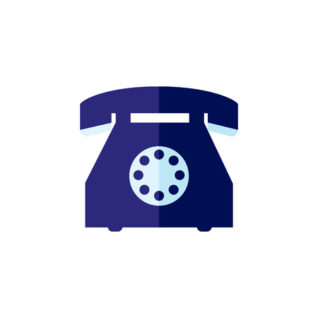 Blue vintage dial rotary phone icon. Retro classic communication technologies objects used for calling. Vector flat isolated illustration.
