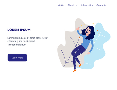 Delight and amorous woman with thumbs up gesture at web page template - young happy and smiling girl flying with pleasure and positive emotions. Flat cartoon vector illustration. Ilustração