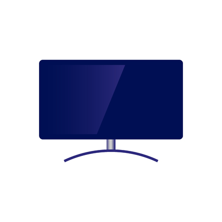 Blue modern television set with wide flatscreen icon. Didital technologies and media entertainment display and broadcasting equipment. Vector flat isolated illustration Çizim
