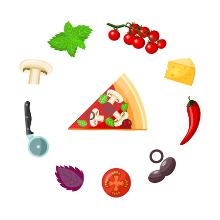 Pizza and ingredients set - colorful piece of delicious ready-to-eat vegetarian pizza with vegetables, cheese and knife around it isolated on white background. Flat cartoon vector illustration.