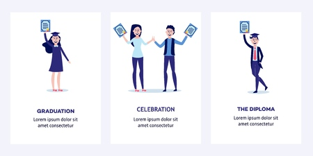 Students graduating from university with diplomas in their hands - happy and smiling young boys and girls holding certificates of completion of training. Vertical banners set, flat vector illustration Illusztráció