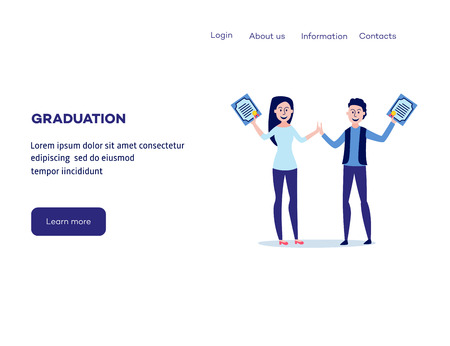Students graduating from university with diplomas in their hands at web page template - smiling boy and girl hold certificates of completion of education, flat vector illustration.