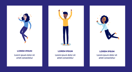 Delight and amorous people with thumbs up gesture - vertical banners set with happy and smiling man and women flat cartoon characters with positive emotions. Vector illustration.