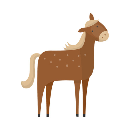 Brown horse hand drawn icon. Farm animal, equastrian mammal stallion or mare. Domestic rural animal, symbol of riding and power. Vector flat isolated illustration Illustration