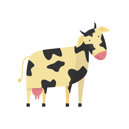 Cute cow with black white spotted skin, horns and udder, hand drawn smiling character icon. Farm animal, livestock used for beef meat and dairy product. Rural mammal. Vector flat isolated illustration